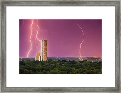 Tulsa Lightning Storm Over Cityplex Towers Framed Print by Gregory Ballos