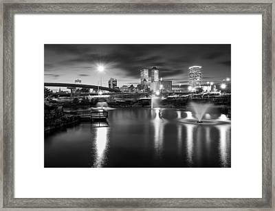 Tulsa Lights - Centennial Park View Black And White Framed Print