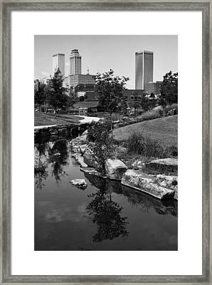 Tulsa Oklahoma Skyline And River Black And White Framed Print by Gregory Ballos