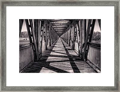 Tulsa Pedestrian Bridge In Black And White Framed Print by Tamyra Ayles