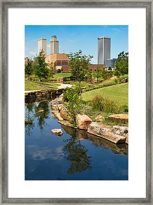 Tulsa Skyline And River  Framed Print by Gregory Ballos