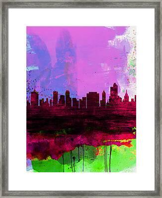 Tulsa Watercolor Skyline 2 Framed Print