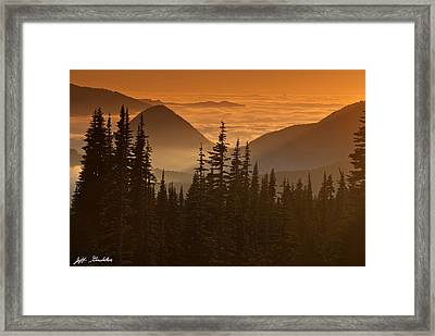 Framed Print featuring the photograph Tumtum Peak At Sunset by Jeff Goulden