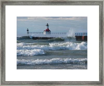 Tumultuous Lake Framed Print by Ann Horn