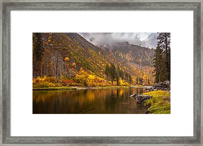 Tumwater Canyon Fall Serenity Framed Print by Mike Reid