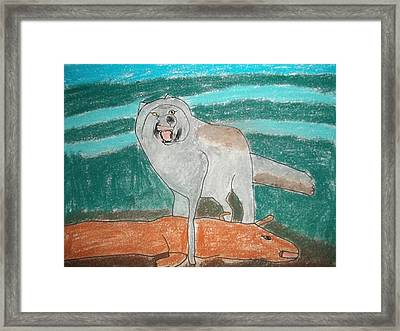 Tundra Wolf Pastel On Paper Framed Print by William Sahir House