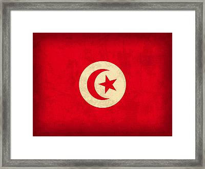 Tunisia Flag Vintage Distressed Finish Framed Print by Design Turnpike