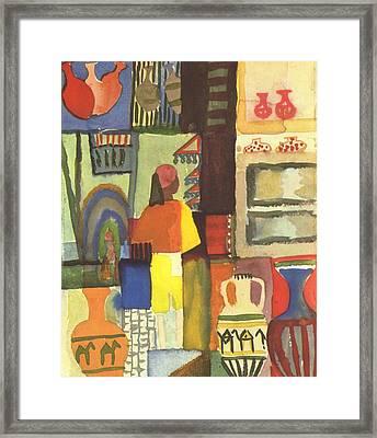 Tunisian Market Framed Print by August Macke