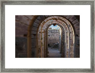 Tunnel Between The Temple Of Trajan Framed Print by Reynold Mainse