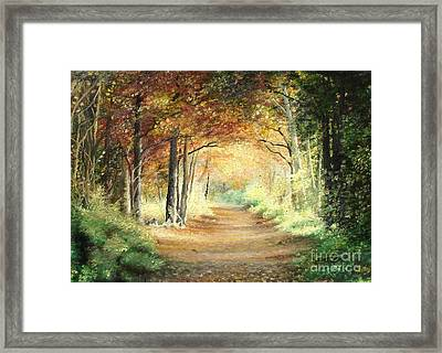 Framed Print featuring the painting Tunnel In Wood by Sorin Apostolescu
