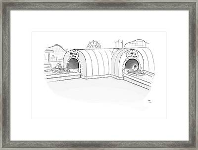 Tunnel Of Love Ride Intersects With A Tunnel Framed Print