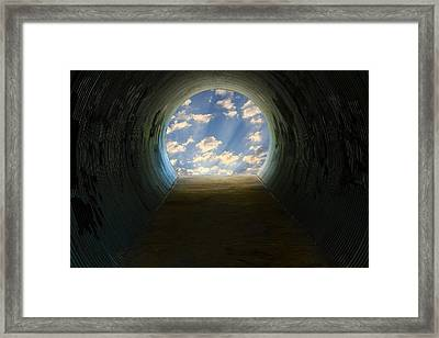 Tunnel With Light Framed Print