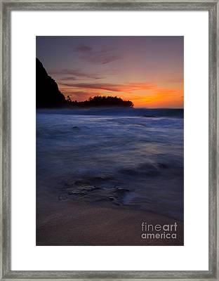 Tunnels Beach Dusk Framed Print by Mike  Dawson