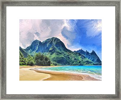 Tunnels Beach Kauai Framed Print by Dominic Piperata