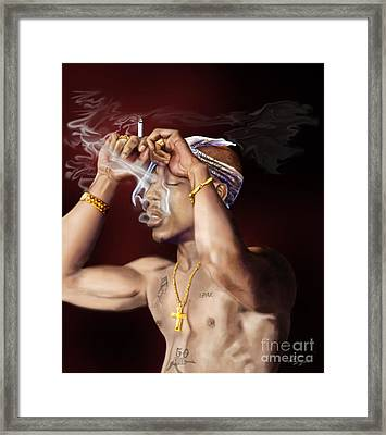 Tupac - Burning Lights Series  Framed Print by Reggie Duffie