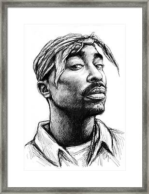 Tupac Shakur Art Drawing Sketch Portrait Framed Print by Kim Wang