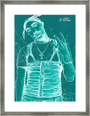 Tupac Shakur Long Stylised Drawing Art Poster Framed Print