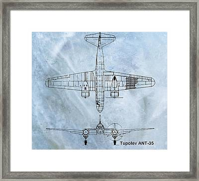Tupolev Ant-35 Blueprint Framed Print by Dan Sproul