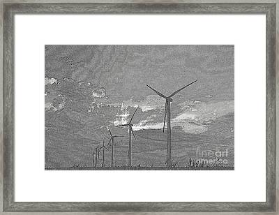 Framed Print featuring the photograph Turbines In Pencil by Jim McCain