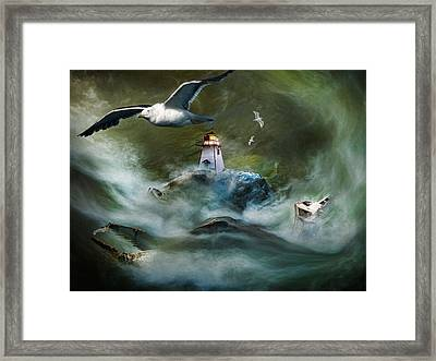 Turbulence At Irving Lighthouse Framed Print