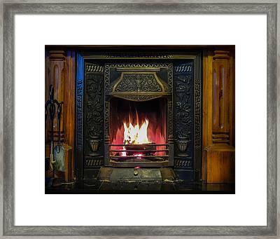Turf Fire In Irish Cottage Framed Print
