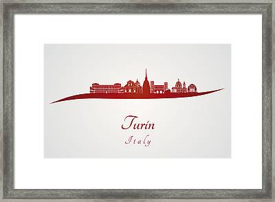 Turin Skyline In Red Framed Print