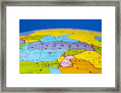 Turkey - Antique  Globe Map Travel Background Framed Print by Donald  Erickson
