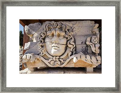 Turkey, Carved Head Of Medusa Framed Print by Emily Wilson