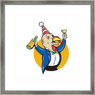 Turkey Celebrating Wine Party Hat Cartoon Framed Print by Aloysius Patrimonio