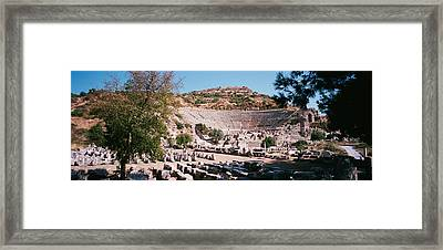 Turkey, Ephesus, Main Theater Ruins Framed Print by Panoramic Images