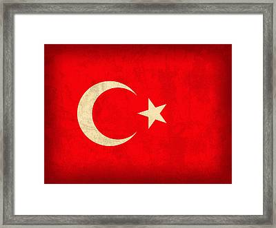 Turkey Flag Vintage Distressed Finish Framed Print by Design Turnpike