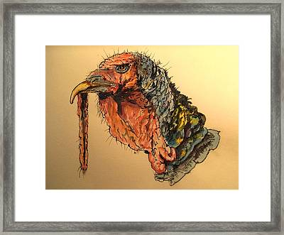Turkey Head Bird Framed Print by Juan  Bosco