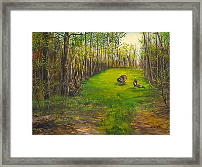 Turkey Hunt With Grandpaw At The Gas Line Framed Print by Alvin Hepler