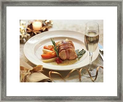Turkey Parcel Wrapped In Pancetta Framed Print by Monty Rakusen