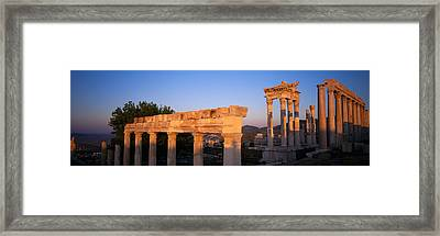 Turkey, Pergamum, Temple Ruins Framed Print by Panoramic Images