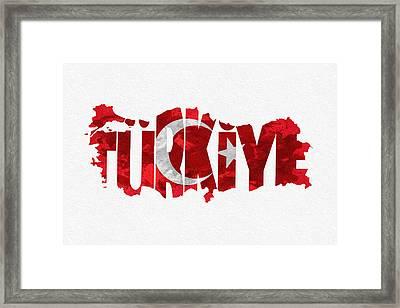 Turkey Typographic Map Flag Framed Print by Ayse Deniz