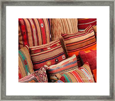Turkish Cushions 02 Framed Print by Rick Piper Photography