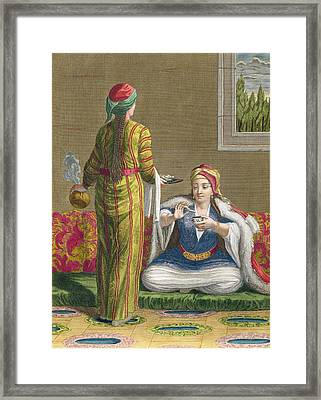 Turkish Girl, Having Coffee Framed Print by Jean-Baptiste Haussard