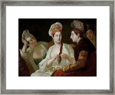 Turkish Women Oil On Canvas Framed Print by Antoine de Favray