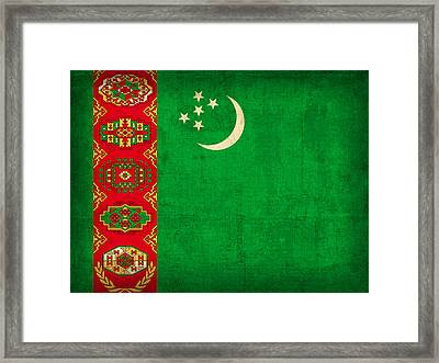 Turkmenistan Flag Vintage Distressed Finish Framed Print by Design Turnpike