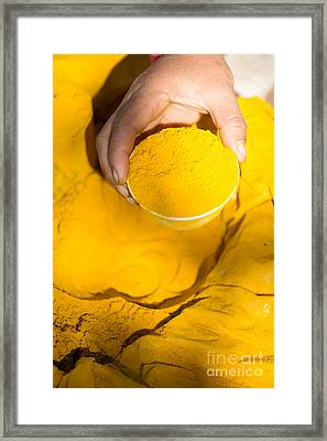 Turmeric Powder At Local Market - Myanmar Framed Print by Matteo Colombo
