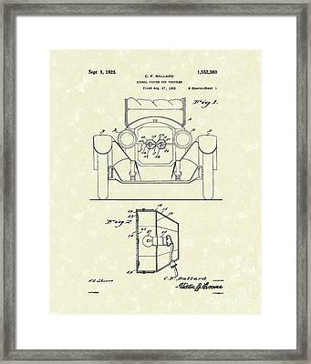 Turn Signals 1925 Patent Art Framed Print by Prior Art Design