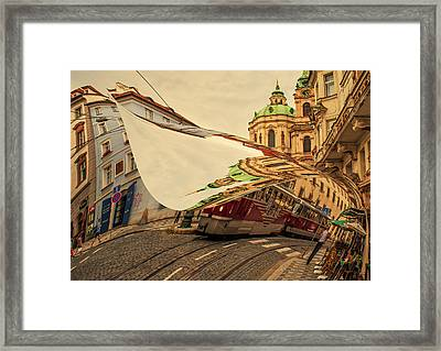 Turn The Page Of Past Day. Prague Streets Framed Print by Jenny Rainbow