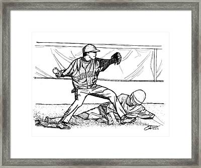 Framed Print featuring the drawing Turn Two by Calvin Durham