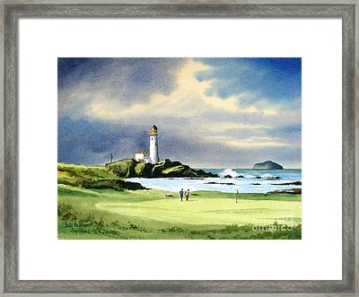 Framed Print featuring the painting Turnberry Golf Course Scotland 10th Green by Bill Holkham