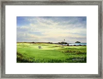 Framed Print featuring the painting Turnberry Golf Course Scotland 12th Tee by Bill Holkham