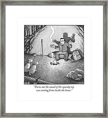 Turns Out The Sound Of The Squeaky Toy Was Coming Framed Print by Harry Bliss