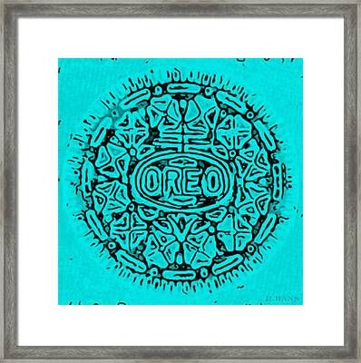 Turquoise Oreo Framed Print by Rob Hans