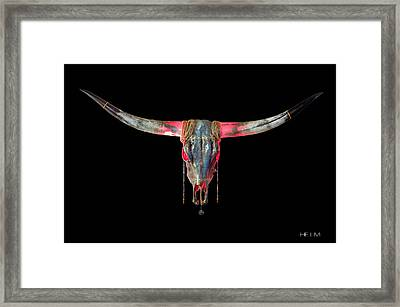 Turquoise And Gold Illuminating Longhorn Framed Print by Mayhem Mediums