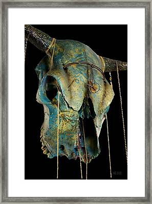 Turquoise And Gold Illuminating Steer Skull Framed Print